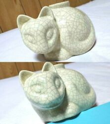 Rare Limited Model Regular Antique Cat Candle Stand Cat Animal Pottery