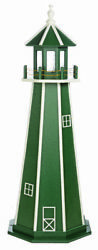 Amish Made Poly Garden Lighthouse -standard - Green And White - Lighting Options