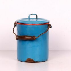 Vintage Enamel Bucket Shape Container Box With Hood And Iron+wood Handle