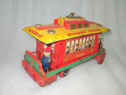 Vintage Battery Toys Trademark Broadway Trolley Litho Tin Toy Made In Japan