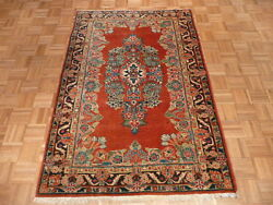 4and0395 X 6and0393 Hand Knotted Red Antique Fine Sarouk Oriental Rug G480