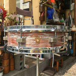 Vintage 1960and039s Ludwig Down Beat Drums Pink Oyster Pearl Color 14andtimes4 Inches Rare