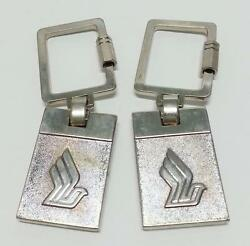 Rare Singapore Airlines Sia Keychain Keyring Silver Stainless Steel 2pcs A1148