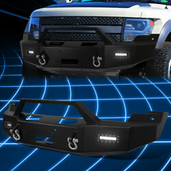 For 10-14 Ford F150 Raptor Front Bumper Replacement W/winch Plate+led Fog Light