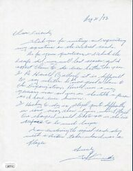 Ted Kennedy Handwritten And Signed Hockey Letter - Jsa Authenticated