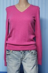 Talbots 100% cashmere bright pink v neck sweater     Petite