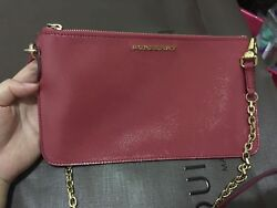 Auth Burberry Crossbody Bag Leather Shoulder Bag Blush Pink Clutch with Chain $395.00