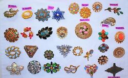 Vtg Jewelry Lot 31 Brooches And Pins
