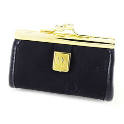 Dior Wallet Purse Coin Purse Black Gold Woman Unisex Authentic Used L1723