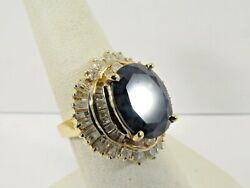 14k Solid Gold 4ct. Blue Sapphire And Diamond Ring Size 6.75 Save 3500 R551