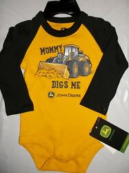 NWT John Deere boys yellow MOMMY DIGS ME Long Sleeve One Piece 9-12M Great Gift! $12.99