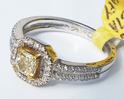.51 Ct Radiant Cut Natural Fancy Yellow Diamond And .26ct Diamonds Ring Solid 18k