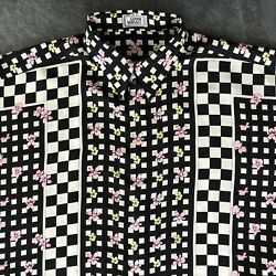 Gianni Versace Silk Shirt Checker And Floral Print Size It 50 From Fw 1995/96