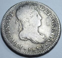 1819 Ng M Spanish Guatemala Silver 1 Reales Piece Of 8 Real Antique Coin