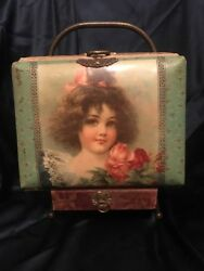 Antique Victorian Edwardian Celluloid Photo Album W Brass Frame Stand And 36photos