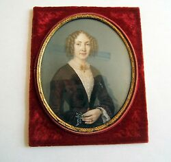 Miniature Painted Hand Portrait Of Woman Sign Labroue 1851