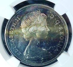 Toned Beautful Colours - 1965 Canada Silver Dollar Ngc Ms62