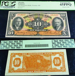 Canada Chartered Banknote . 1935 The Dominion Bank 10 Pcgs Currency Graded