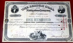 Scarce 1929 Leigh Coal And Navgation Company Stock Certificate And Original Bill