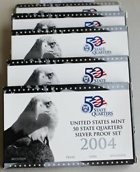 2004-2008 S Proof State Quarter Silver 5 Coin Statehood 5 Sets With Box And Coa
