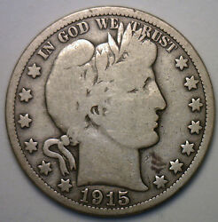 1915 Barber Silver Half Dollar 50 Cent Us Type Coin Vg Collector Coinage