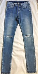 Andpound475 New Saint Laurent Washed Blue Denim Knee Patch Mid Waist Skinny Jeans 25