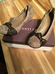 Anyi Lu Gray Suede Wedge Antiqued Leopard Bow Slip On Shoes Sz10,41uk Italy Nwb