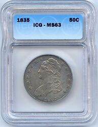 1835 50c Capped Bust Silver Half Dollar. Icg Graded Ms 63. Lot 2226