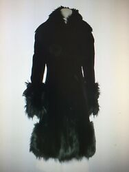 NEW without tag GIANFRANCO FERRE Italian black sheared mink coat with arctic fox