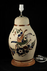 Mexican Table Lamp Hand Painted Tonala Mexico New Folk Art Initialed Parrot