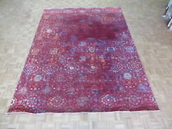 9 X 12 Hand Knotted Wool And Silk Red Fine Modern Abstract Oriental Rug G6277