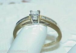 14k .50ct Diamond Princess Solitaire W/ Accents Ring Size 7 Yellow Gold Vintage