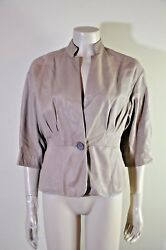 BRUNELLO CUCINELLI 34 Sleeve Beige Leather One Button Jacket Size 10