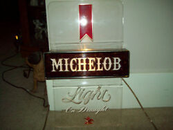 Vintage Michelob Light Beer Bar Tavern Lighted On Draught Sign Collectible