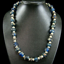 An Islamic Fustat Cairo Glass Eye Bead Necklace With Later Islamic Silver Y849