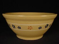 """Very Rare Antique Hull Large 9"""" Slip Dot Floral Bowl Yellow Ware Mint"""