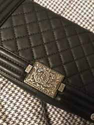 $7.5K! Auth Chanel Paris Dallas Boy Flap Bag in Black Quilted Leather Never Worn