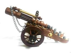 Wooden Brass Cannon Vintage Collectible Home Decorative 19 Inch