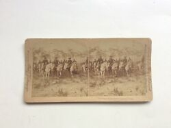 1898 Real Photo Stereoview Card Roosevelt Rough Riders Coming To Camp