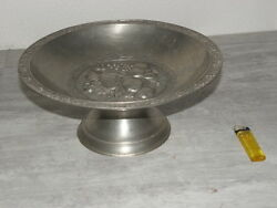 Table Centerpiece Cup Pewter Ornament Has Fruits Holder Art Deco Tin