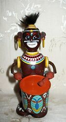 Vintage Rare Japanese Louis Marx And Co. Wind-up Tin Toy Drummer Awesome Colors
