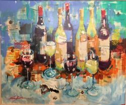 Original Authentic Kerry Hallam Wine Painting Acrylic