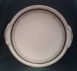 Johnson Brothers Old English Cake Plate Ironstone Serving Platter In Blue And Gold