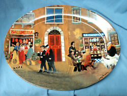 Guy Buffet Tuscan Storefronts 16 Porcelain Germany Oval Platter Plate Mint Gift