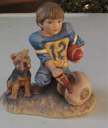 YORKSHIRE TERRIER PUPPY WITH HIS FOOTBALL PLAYER MASTER VINTAGE FIGURINE