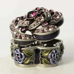 Bejeweled Antique Style Floral Faberge Trinket Box With Crystals In Fuchsia