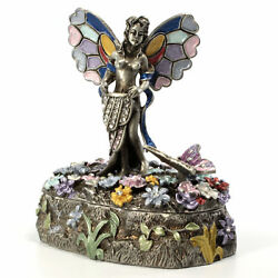 Bejeweled Fairy Trinket Box, Faberge Figurine, With Crystals In Antique Silver