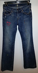7 FOR ALL MANKIND Girl's Premium Custom Made Bling Crystal Jeans sz 12 inseam 30