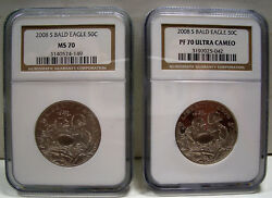 Set Of Two 2008-s Clad Bald Eagle Half Dollars 50c Ngc Pf 70 Ucam And Ms 70