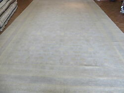 14'3 X 23'8 Hand Knotted Soft Ivory Oushak Oriental Rug Vegetable Dyes G4076